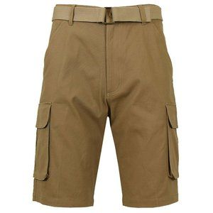 Galaxy by Harvic Beige Flat Front Cargo Shorts